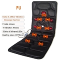 AMYMGLL Massage matratze pu leder massage matratze hals schulter taille hitze schock körper massage matte timing Handheld linie control infrarot Physiotherapie Dark Coffee schwarz - 1